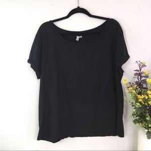 ASOS boat neck cuffed tee shirt black classic